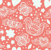 Bloemen overladen patroon met vele leuke details Naadloze mooie achtergrond Stock Foto