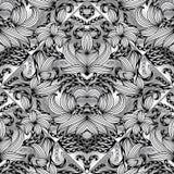 Bloemen Paisley naadloos patroon Vector zwart-witte backgrou Royalty-vrije Stock Afbeeldingen