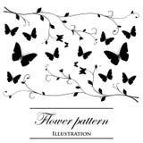Bloemen patronen op een witte achtergrond Stock Afbeeldingen