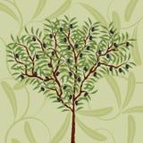 Bloemen patroon met een olijfboom Royalty-vrije Stock Afbeeldingen