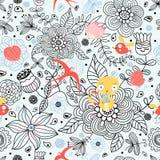 Bloemen patroon met katten en vogels Royalty-vrije Stock Afbeelding