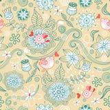 Bloemen patroon met vogels vector illustratie