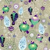 Bloemen patroon met vogels stock illustratie