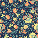 Bloemen patroon Naadloos uitstekend textielpatroon af:drukken stock fotografie