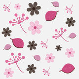 Bloemen patroon - roze en bruin Stock Afbeeldingen