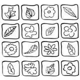 Bloemen pictogrammen Stock Fotografie