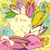 Bloemen prentbriefkaar Stock Afbeeldingen