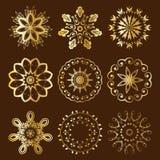 Bloemen Radiaal Gouden Ornament Stock Afbeelding
