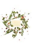 Bloemen rond kader op witte achtergrond met uitstekende kaart Royalty-vrije Stock Afbeeldingen
