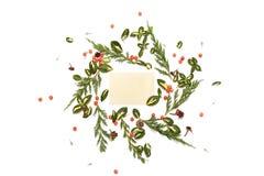 Bloemen rond kader op witte achtergrond met uitstekende kaart Royalty-vrije Stock Foto