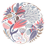 Bloemen ronde vorm Hand getrokken creatieve bloem in cirkel Kleurrijke artistieke achtergrond met bloesem Abstract kruid stock illustratie