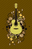 Bloemen samenvatting met gitaar stock illustratie