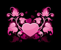 Bloemen samenvatting met hart Stock Foto