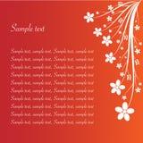 Bloemen samenvatting op rood met steekproeftekst Royalty-vrije Stock Fotografie