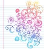 Bloemen Schetsmatig terug naar de Vector van de Krabbel van de School Stock Afbeelding