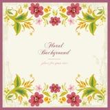 Bloemen SierAchtergrond in Uitstekend Varkenskot Stock Afbeelding