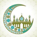 Bloemen toenemende maan en moskee voor Eid Mubarak Stock Fotografie
