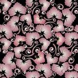 Bloemen uitstekend naadloos patroon Abstracte vector zwarte backgroun Stock Foto