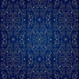 Bloemen uitstekend naadloos patroon op blauwe achtergrond Stock Foto