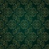 Bloemen uitstekend naadloos patroon op groene achtergrond Stock Foto