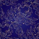 Bloemen uitstekend naadloos patroon op violette achtergrond Royalty-vrije Stock Afbeeldingen