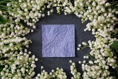 Bloemen van de lelietje-van-dalen na streven de Mooie kleine witte lente Stock Fotografie
