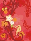 Bloemen van de Vogel Reeks Als achtergrond Royalty-vrije Stock Foto's