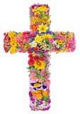 Bloemen van een kruis van Jesus stock foto's