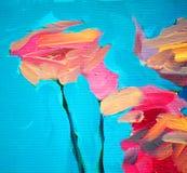 Bloemen van een roos en een blauwe hemel, het schilderen Stock Afbeeldingen