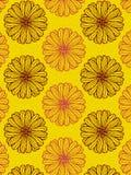 Bloemen van het Glittery de zwarte en rode madeliefje over helder geel textuurpatroon vector illustratie