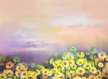 Bloemen van het olieverfschilderij de gele, gouden madeliefje op gebieden stock illustratie