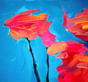 Bloemen van roos en blauwe hemel, het schilderen Royalty-vrije Stock Afbeeldingen