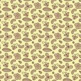 Bloemen vector naadloos patroon met bloem, noot, klaver, blad Bospunten natuurlijke achtergrond Eindeloze textuur royalty-vrije illustratie