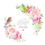 Bloemen vector rond kader met de leuke kleine vogel van Robin royalty-vrije illustratie