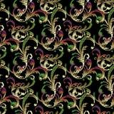 Bloemen vectorborduurwerk naadloos patroon in Barokke stijl Blac Royalty-vrije Stock Fotografie
