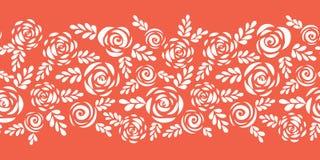 Bloemen vectorgrens witte rozen op koraal rode naadloos Skandinavische stijlbloemen en bladeren bloemensilhouetten Het patroon va stock illustratie