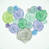 Bloemen vectorhart stock illustratie