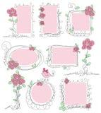 Bloemen vectorkrabbelframes Royalty-vrije Stock Afbeeldingen