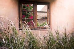 Bloemen in vensters van klein vakantiehuis worden weerspiegeld met mornin die Stock Fotografie
