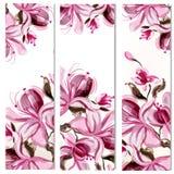 20)Bloemen verticale die brochures met magnoliabloemen worden geplaatst in waterverfstijl door vlekken worden geschilderd vector illustratie