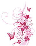 Bloemen, vlinder, de zomer, roze Royalty-vrije Stock Foto
