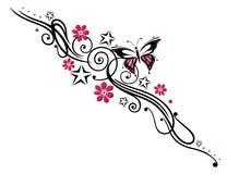 Bloemen, vlinder, rank Stock Fotografie