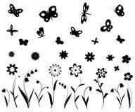Bloemen, vlinders en libellen Stock Afbeeldingen