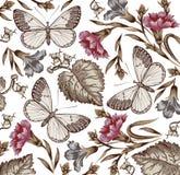 Bloemen. Vlinders. Mooie achtergrond. Royalty-vrije Stock Foto's