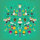 Bloemen, vogels, slakken, vlinders en paddestoelenaard vector retro illustratie Royalty-vrije Stock Foto