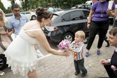 Bloemen voor bruid Stock Foto's
