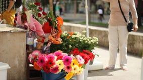 Bloemen voor Verkoop op Stoep stock videobeelden
