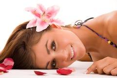 Bloemen Vrouw stock afbeelding
