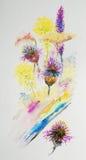 Bloemen, waterverf het schilderen Stock Foto's