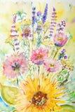Bloemen, waterverf het schilderen Royalty-vrije Stock Fotografie